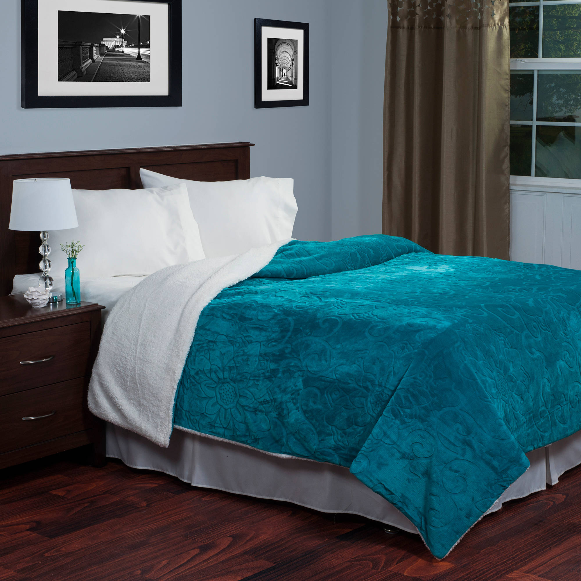 Somerset Home Floral Etched Fleece Blanket with Sherpa