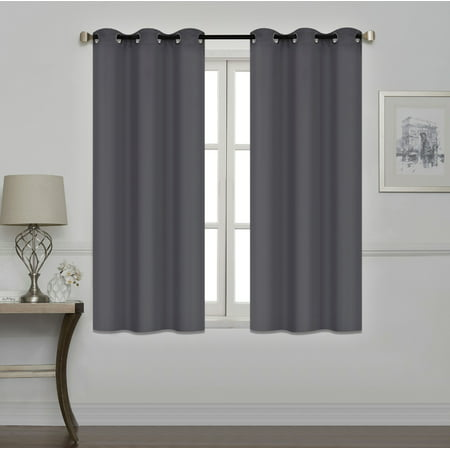 Mallen Home Room Darkening and Thermal Insulated Blackout Grommet Window Curtain for Living Room and Bedroom Dark Gray, 40