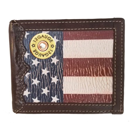 Gauge Flag (Custom 12 Gauge Bi-fold Wallet with a Distressed United States Flag background)