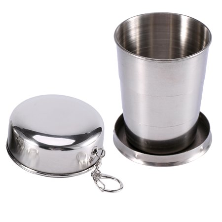VBESTLIFE Stainless Steel Travel Folding Cup Camp Keychain Retractable Telescopic Collapsible Travel Retractable Cup Camp Retractable Cup (Travel Prayer Keychain)