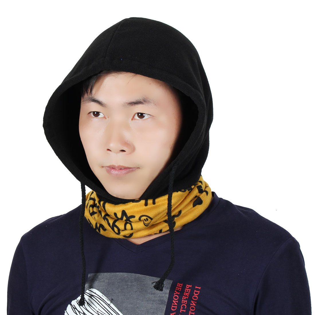 Letter Pattern Adjustable Rope Double Layer Neck Warmer Protector Hood Balaclava by Unique-Bargains