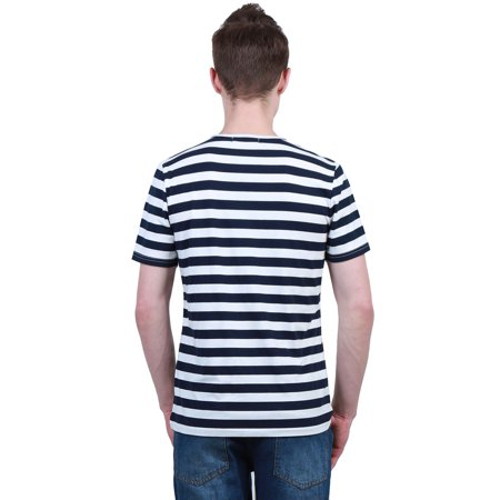 Men Casual Crew Neck Color Block Short Sleeve Striped T Shirt Navy Blue L - image 4 of 7