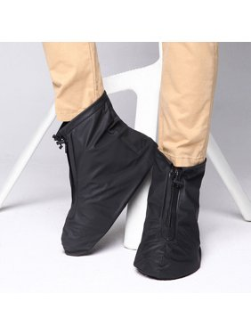 IClover 360 Waterproof Rainproof PVC Fabric Zippered Shoe Covers Rain Boots Overshoes Protector Bike Motorcycle Anti-Slip Travel Women Men Kids Short Black L Size US 8.5