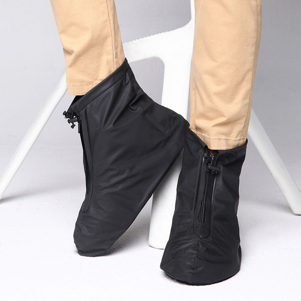 IClover 360 Waterproof Rainproof PVC Fabric Zippered Shoe Covers Rain Boots Overshoes Protector Bike Motorcycle Anti-Slip Travel Women Men Kids Short Black L Size US 8.5