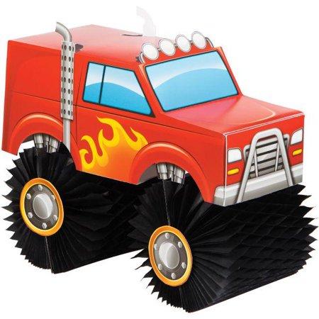 Creative Converting Monster Truck Rally Centerpiece - High School Rally Themes