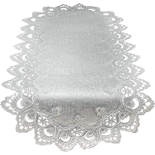 Doily Boutique Table Runner with Antique White European Lace and Fabric, Size 70 x 15 inches