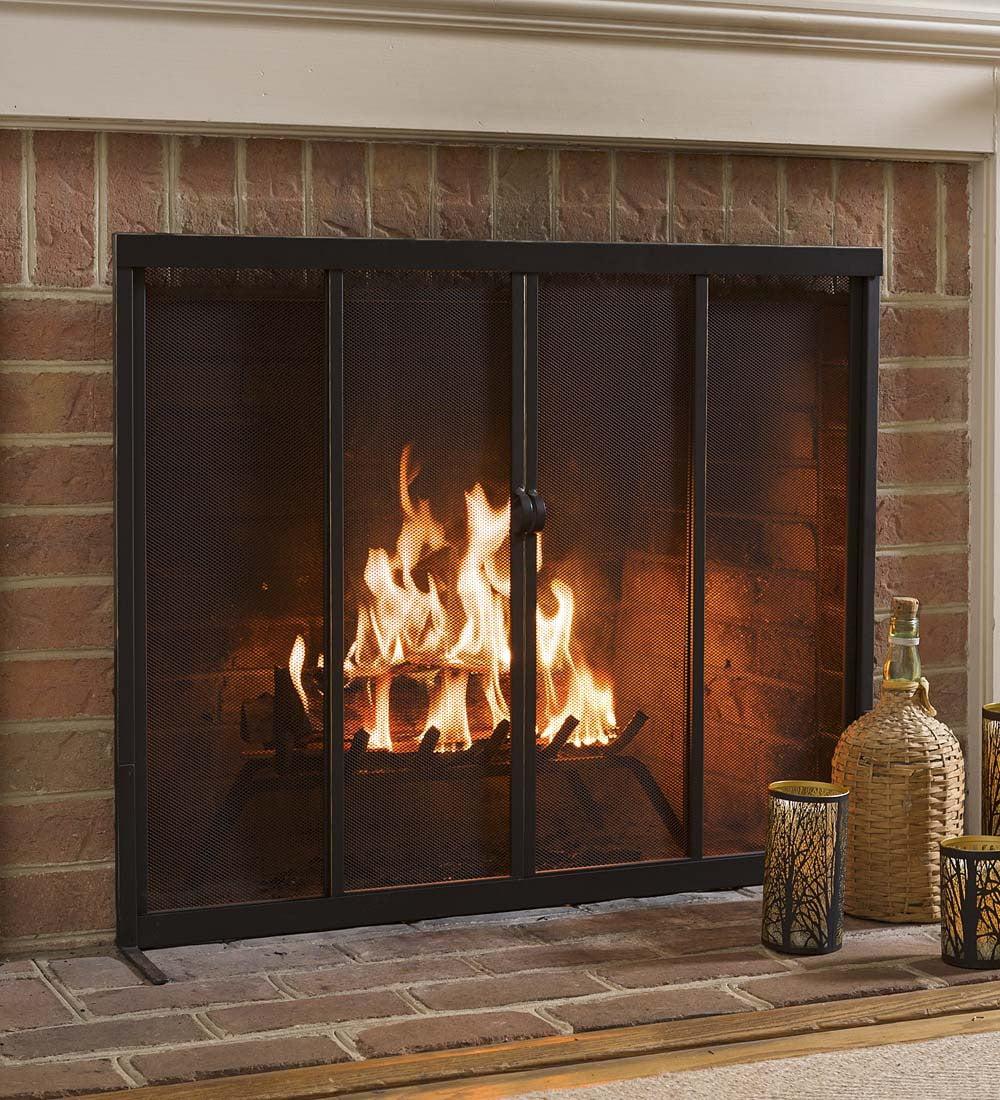 fireplace screen with sliding doors 38 x 31 bronze