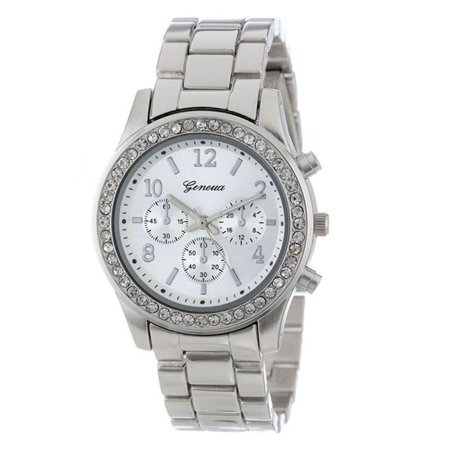 Women Stylish Quartz Watch with Alloy Watchband 3 Small Dial Wrist Watch Ornament Silver with diamonds ()