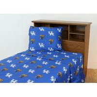 Kentucky Wildcats 100% cotton, 4 piece sheet set - flat sheet, fitted sheet, 2 pillow cases, Queen, Team Colors
