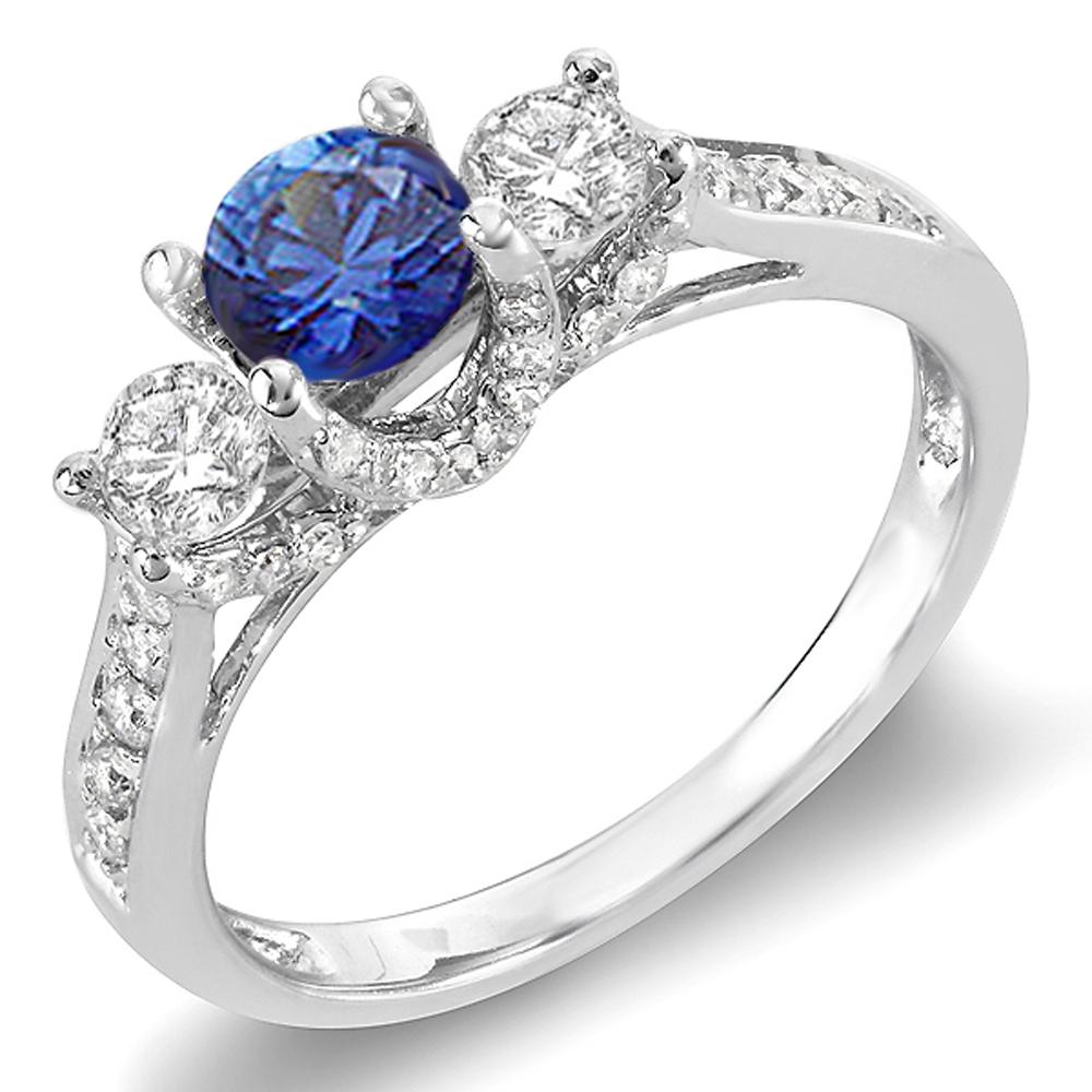 1.00 Carat (ctw) 14k White Gold Round White Diamond And Blue Sapphire 3 Stone Ladies Bridal Engagement Ring