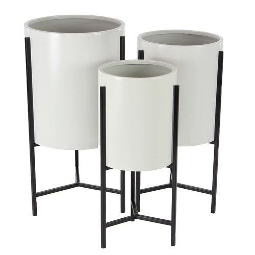 Cole & Grey Modern 3-Piece Metal Pot Planter Set with Stand