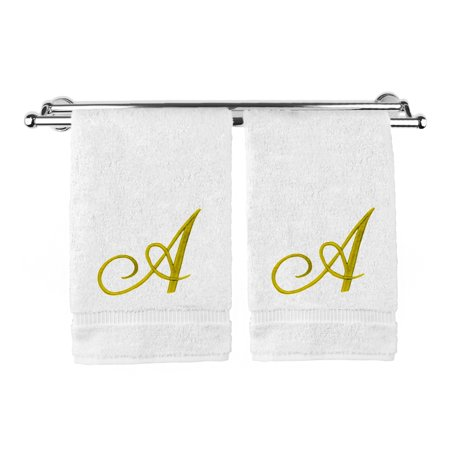 Monogrammed Hand Towel, Personalized Gift, 16 x 30 Inches - Set of 2 - Gold Embroidered Towel - Extra Absorbent 100% Turkish Cotton- Soft Terry Finish - For Bathroom, Kitchen and Spa- Script A White