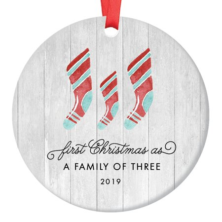 First Christmas As A Family of Three Ornament 2019, Farmhouse Woodsy Newborn New Baby Parents Mom Dad Present Mommy Daddy Ceramic Porcelain 3