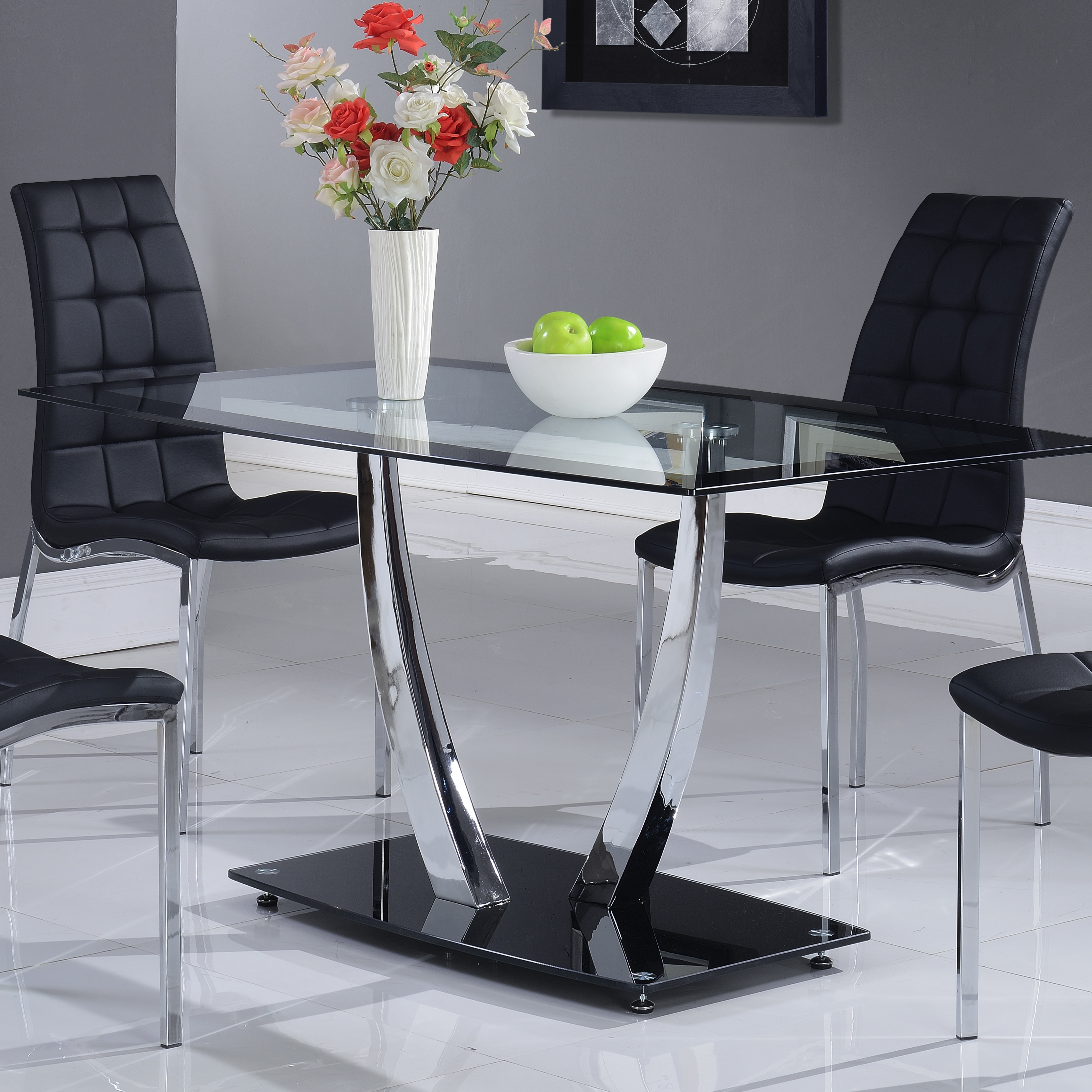Global Furniture Glass Dining Table With Black Trim And Chrome Legs 60x36x30 Inch Black