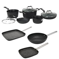 """The Rock By Starfrit 030930-001-0000 8PC Set With Bakelite Handles, 030278-012-0000 6"""" Personal Griddle Pan With Steel Handle, 030279-012-0000 7.25"""" Personal Wok Pan & 030280-006-0000 10"""" Grill Pan"""