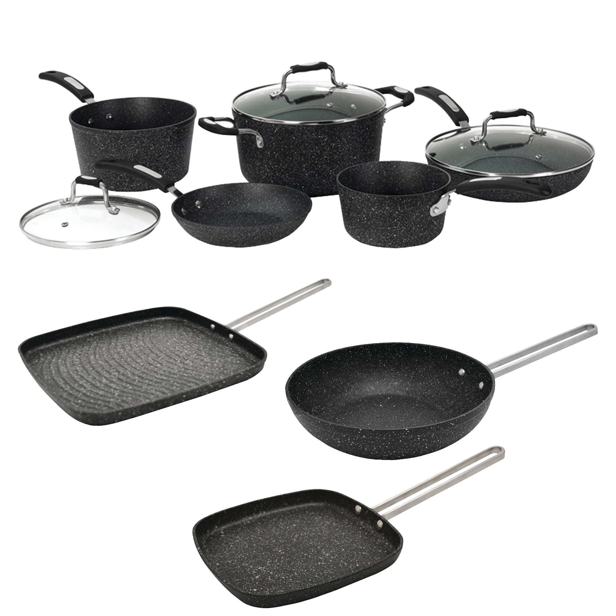 "The Rock By Starfrit 030930-001-0000 8PC Set With Bakelite Handles, 030278-012-0000 6"" Personal Griddle Pan With Steel Handle, 030279-012-0000 7.25"" Personal Wok Pan & 030280-006-0000 10"" Grill Pan"