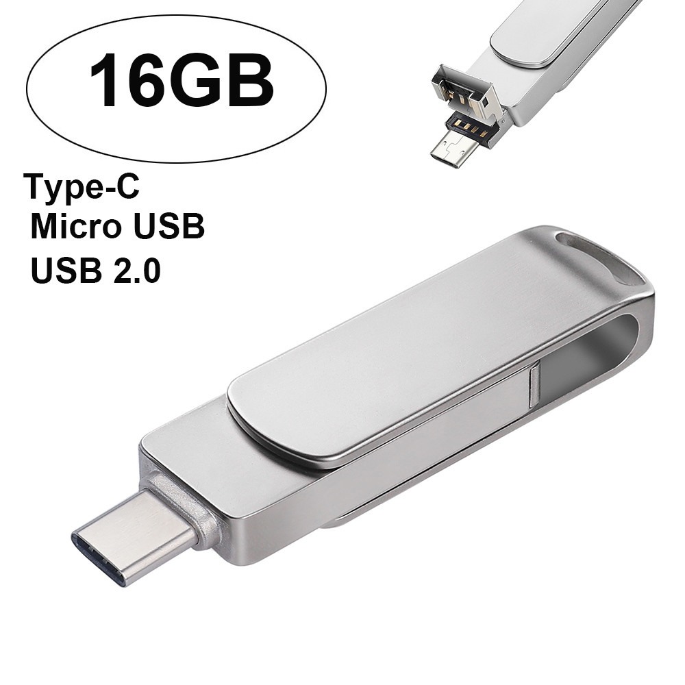 USB 2.0 16GB Flash Drive Memory Stick Storage Digital Type-C & Micro USB U Disk