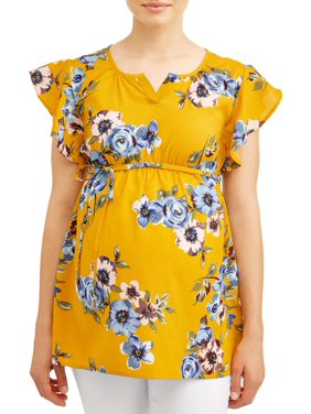 716cc5f3355 Product Image Maternity Floral Ruffle Sleeve with Tie Waist Top - Available  in Plus Sizes