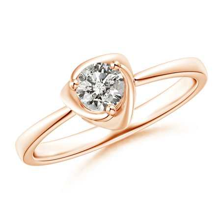 April Birthstone Ring - Solitaire Diamond Floral Ring in 14K Rose Gold (4.4mm Diamond) - SR1299D-RG-KI3-4.4-8
