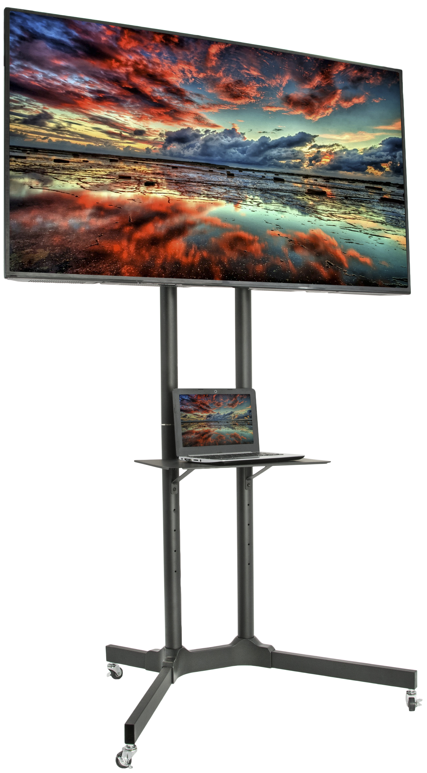 "VIVO Black Rolling TV Cart for 32"" to 65"" LCD LED Plasma Flat Panel Screen 