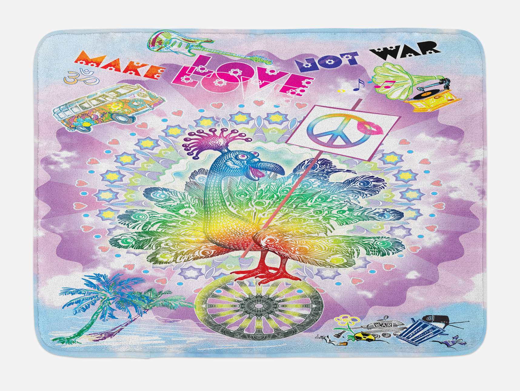 """Hippie Bath Mat, Funny Peacock with """"Make Love Not War"""" Quote Hippie Flower... by 3decor llc"""