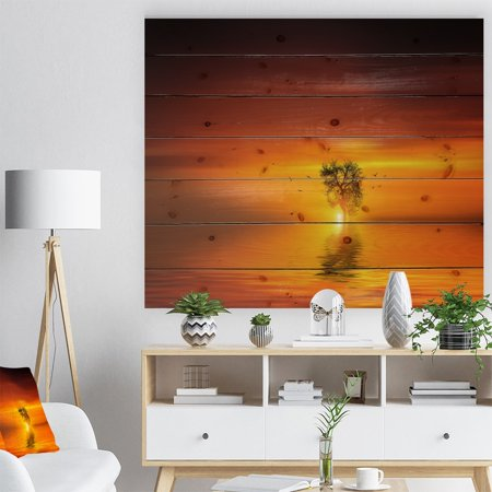 Multi Color Natural Wood - DESIGN ART Designart 'Wonderful Tree with Birds at Sunset' Landscape Print on Natural Pine Wood - Multi-color