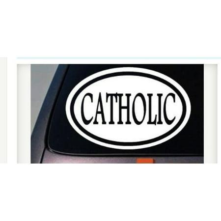 CATHOLIC STICKER DECAL OVAL POPE RELIGIOUS PRIEST CRUCIFIX JESUS MARY GOD 6