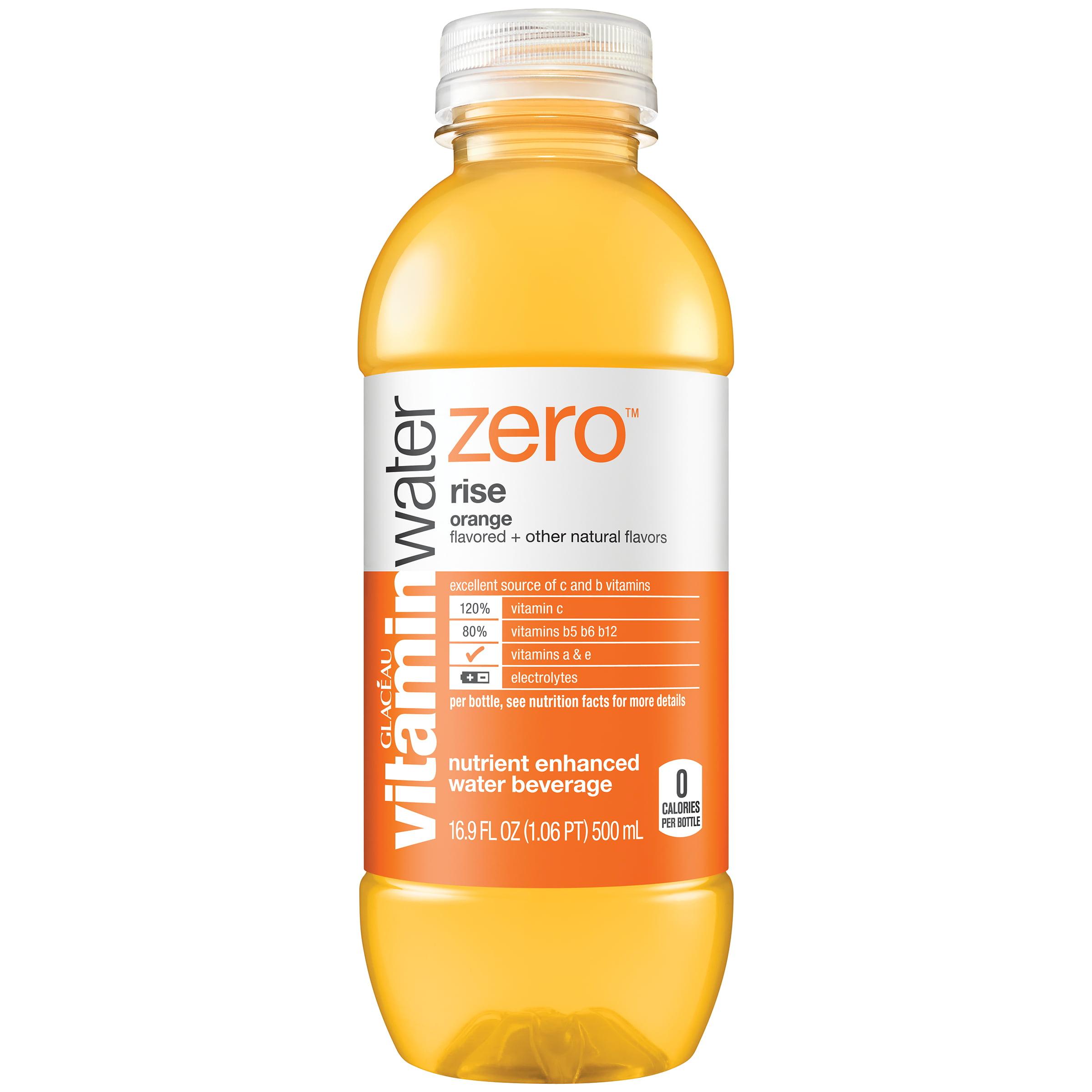 (24 Bottles) Vitaminwater Rise Zero Orange, 16.9 Fl Oz