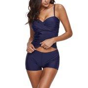 M-4XL Plus Size Women Tankini Set Braces Swim Top+Shorts, Two-Piece Swimsuit Swimwear Push-up Padded Tummy Control Beachwear