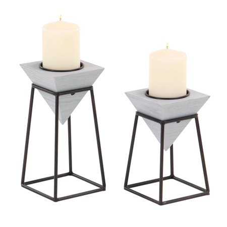 Decmode Modern Gray Inverted Pyramid Wooden Candle Holders With Black Metal Stand, Gray - Set of 2 ()