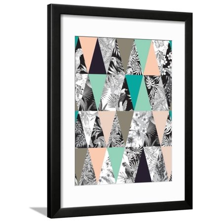 Bandana Frame - Trendy Tropical Patchwork Illustrated Floral Vector Tropical Banana Leaves Hibiscus Flower Lilies P Framed Print Wall Art By Berry2046