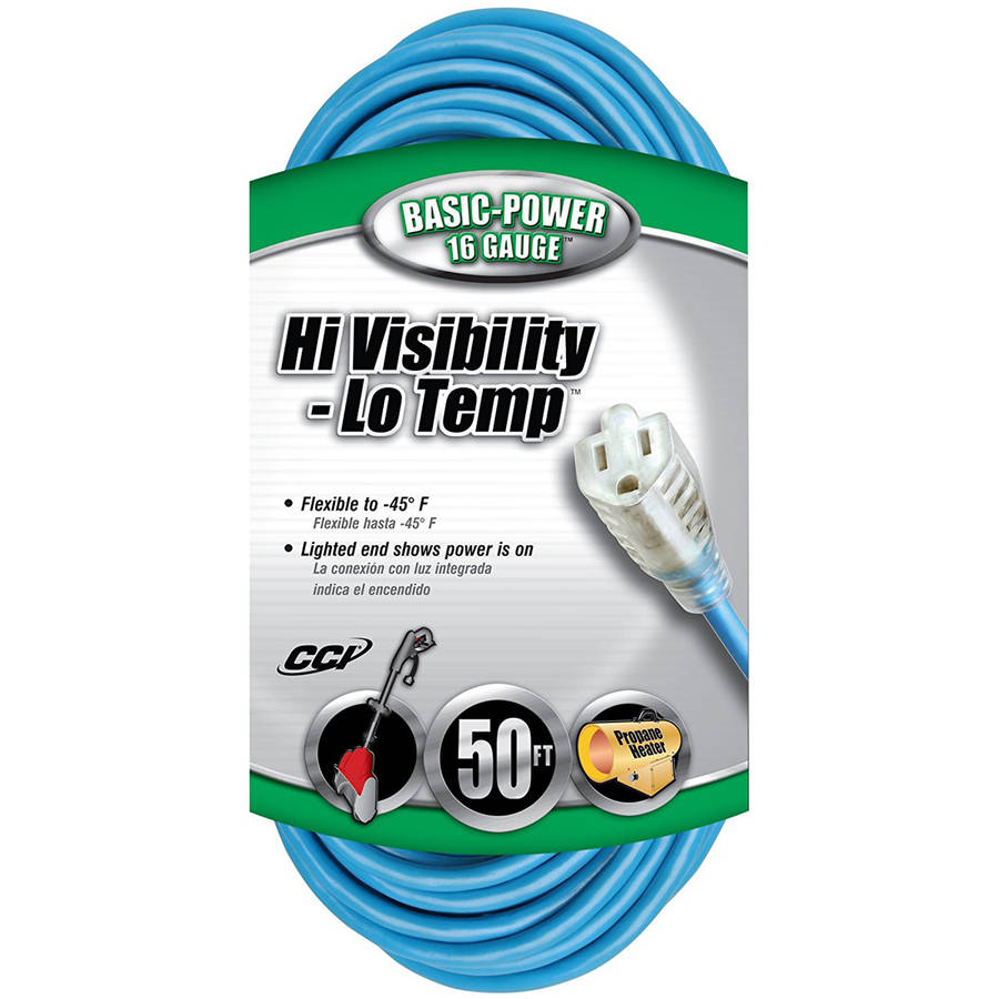 Coleman Cable 02368 16/3-Gauge High Visibility and Low Temperature Outdoor Extension Cord, 50', Blue