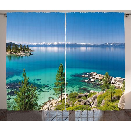 Blue Curtains 2 Panels Set, Tranquil View of Lake Tahoe Sierra Pines on Rocks with Turquoise Waters Shoreline, Window Drapes for Living Room Bedroom, 108W X 84L Inches, Blue Grey (Tahoe Two Light Chain)