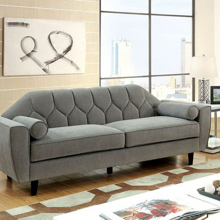 Awesome Ester Contemporary Style Tufted Sofa With Rolled Pillows Gray Machost Co Dining Chair Design Ideas Machostcouk