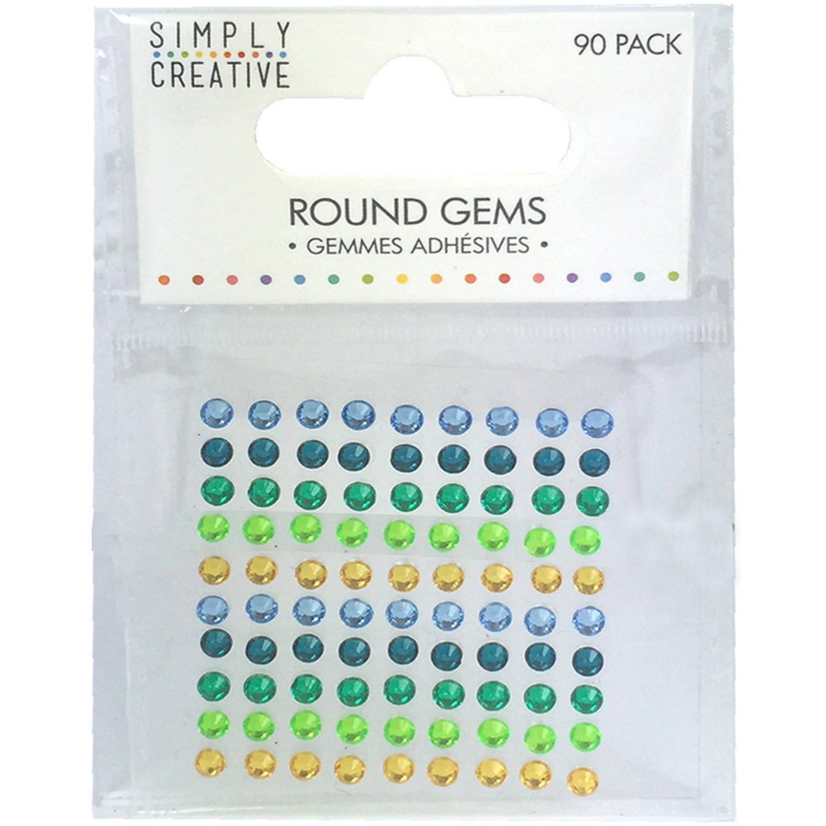 Simply Creative Round Adhesive Gems 90/Pkg-Green, Blue & Yellow