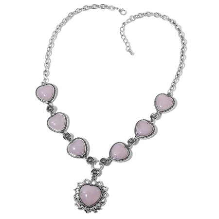 """Shop LC Rose Quartz Silvertone and Iron Collar Heart Necklace for Women 22"""""""