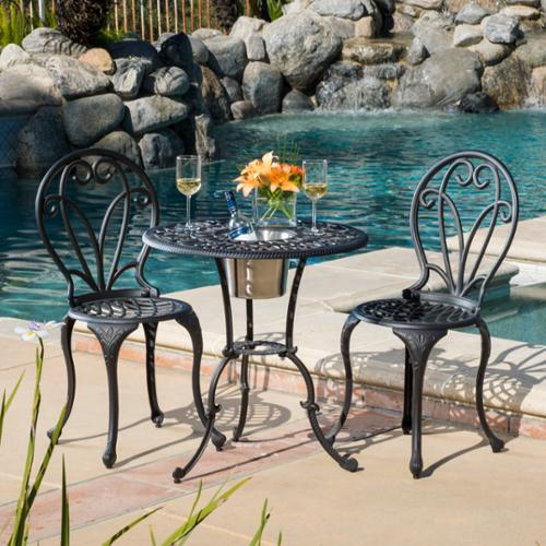 Bradley Cast Aluminum & Iron Black And Gold 3-Piece Bistro Set With Ice Bucket by GDF Studio