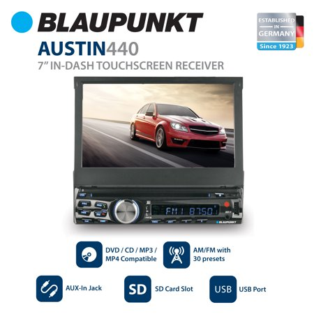 "Blaupunkt AUSTIN 440 Car Stereo In-Dash 7"" Touchscreen DVD Receiver with Front USB and AV Inputs"
