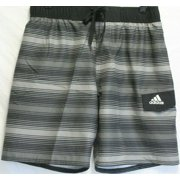 Adidas Icon 2.0 Men's Swim Shorts Trunks, Stripe Charcoal, Large - NEW