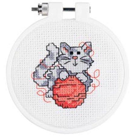 """Kitten Mini 14-Count Cross-Stitch Kit, 3"""" Round"""