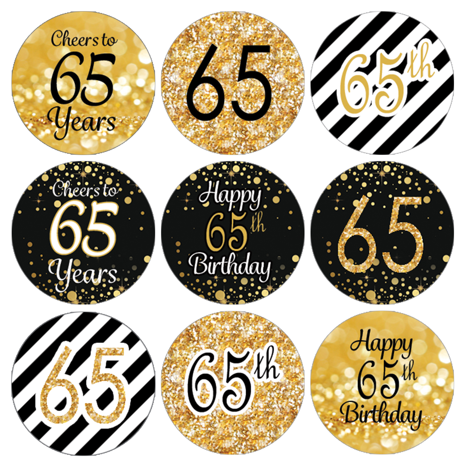 65th Birthday Party Favor Stickers