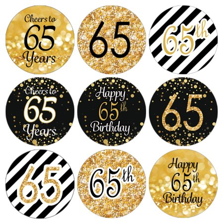 65th Birthday Party Favor Stickers | 216 Labels | Black and Gold Decoration Supplies (65th Birthday Ideas)