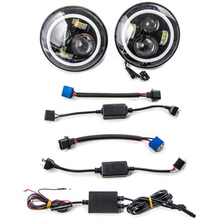 """2x LED 7"""" Headlights w/ Bluetooth RGB HALO Ring For 1997-2017 Jeep Wrangler JK for 2011-2014 Dodge Charger - image 2 de 8"""