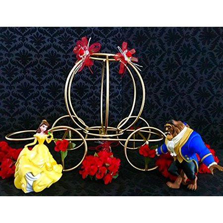 Beauty and The Beast Belle Gold Carriage with Flowers Cake Topper Centerpiece