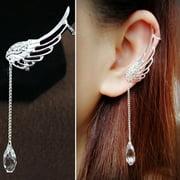 Tuscom Charm Elegant Angel Wing Crystal Earrings Drop Dangle Ear Stud Cuff Clip