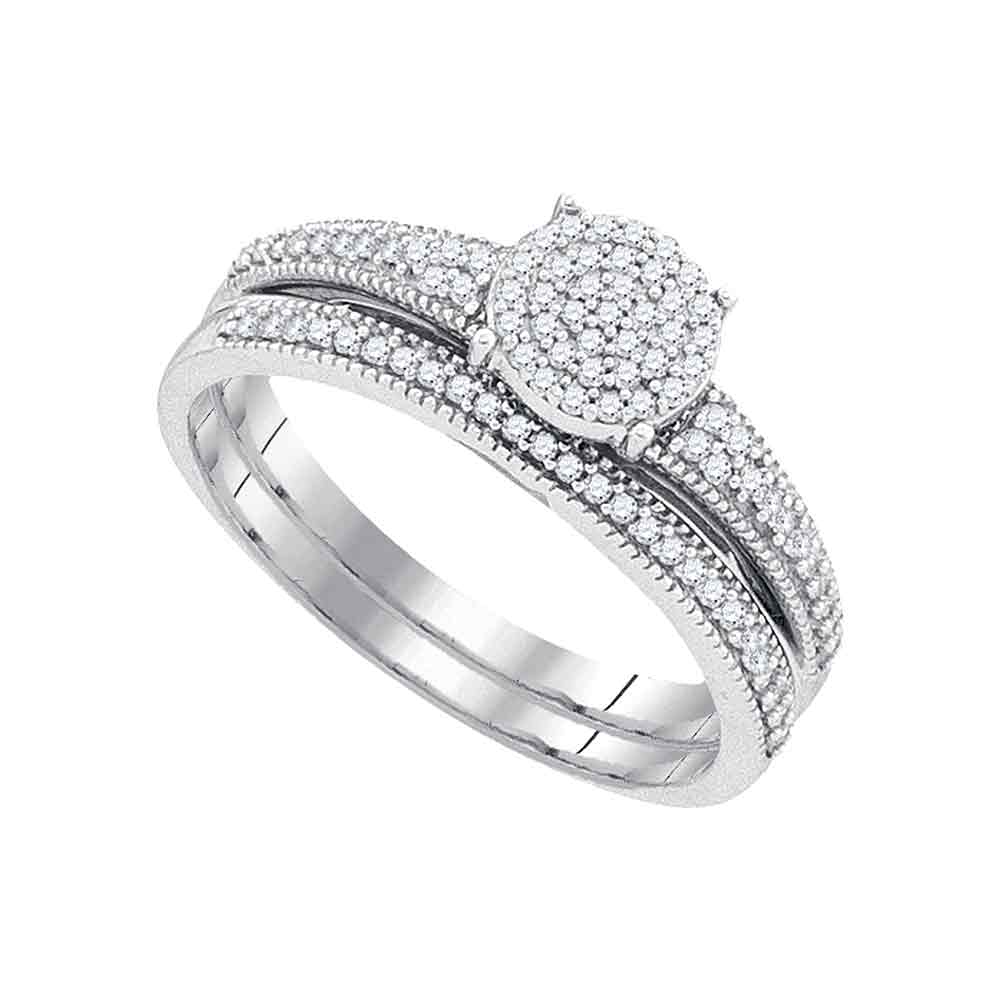 10k White Gold Womens Diamond Cluster Bridal Wedding Engagement Ring Band Set 1 4 Cttw by GND