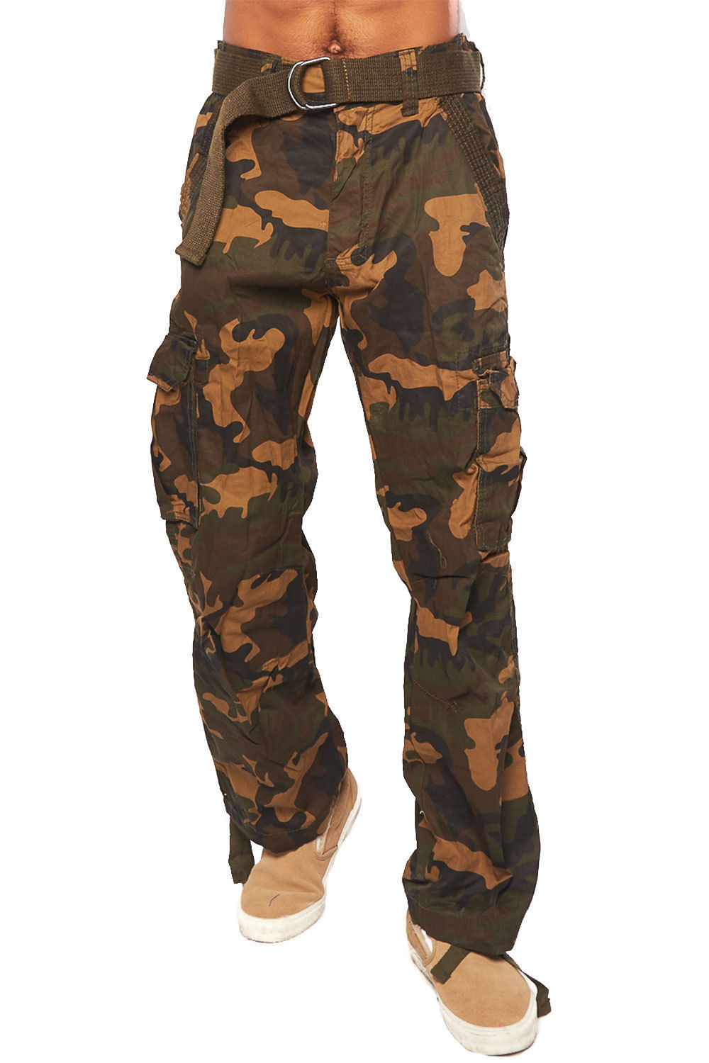 Mens Hipster Hip Hop Loose Straight Cargo Pants MTP20-30/30-Camo