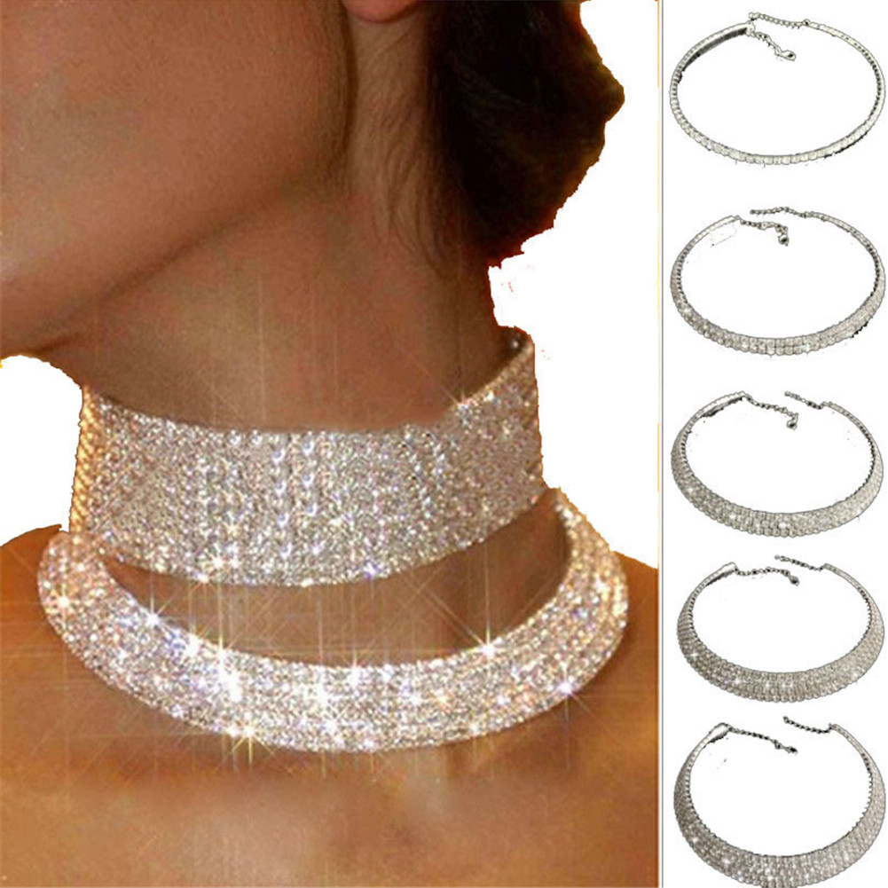 Clear One Row Elastic Flexing Rhinestone Choker Necklace Jewelry for Women Silver