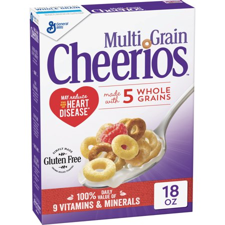 (2 Pack) Multi Grain Cheerios Gluten Free Cereal, 18 (Calories In Bowl Of Cheerios With Almond Milk)