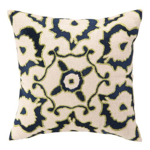Courtney Cachet Courtney Cachet Vintage Ikat Embroidered Decorative Linen Throw Pillow
